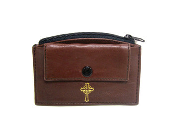 Brown Leather Rosary Case with Front Snap Pocket