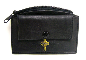 Black Leather Rosary Case with Front Snap Pocket