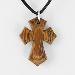 Flared Wood Cross Necklace