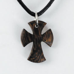 Small Flared Wood Cross Necklace