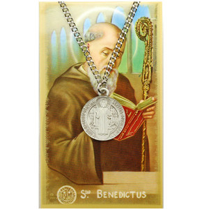 Saint Benedict Prayer Card and Large Medal Set