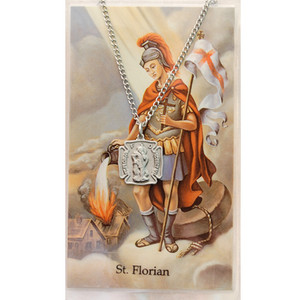Saint Florian Prayer Card and Medal Set