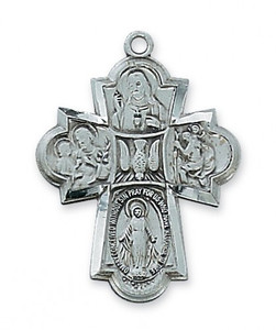 Antique Pewter 4-Way Medal- Large