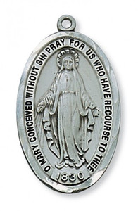 Antique Pewter Miraculous Medal (Large)