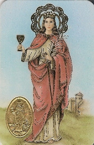Pack of 25 Saint Barbara Spanish Prayer Card