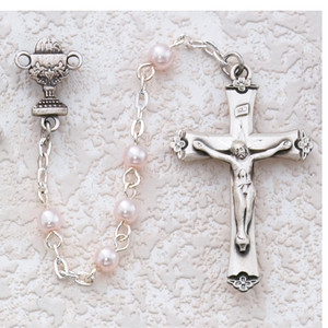 5mm Deluxe Pink Pearl Rosary