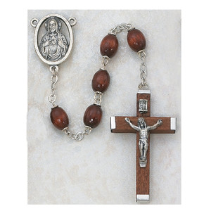 6x8mm Brown Wood Rosary with Wood Crucifix