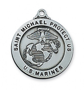 Antique Pewter Saint Michael Medal- Marines