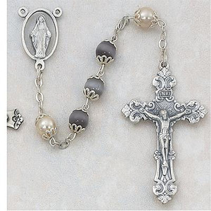 7mm Amethyst and Pearl Capped Rosary