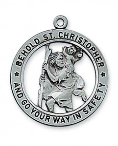 "Antique Pewter Saint Christopher Medal 24"" Chain"