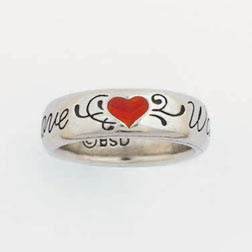 Ladies Small Solid Pewter Heart True Love Waits Ring