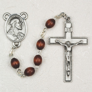4x6mm Pewter and Brown Wood Rosary