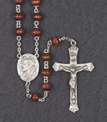 7mm Wood and Pewter Rosary