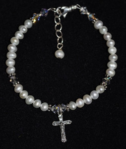 Small Pearl and Sterling Silver Bracelet with Crucifix