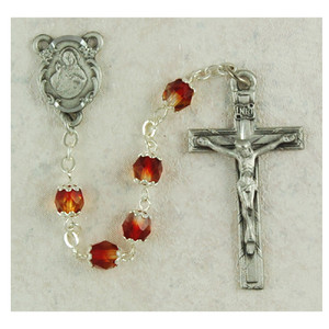 6mm Red and Yellow Glass Bead Rosary