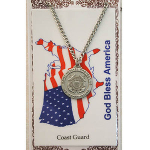 Pewter Saint Michael Coast Guard Medal and Prayer Card Set