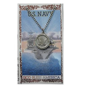 Pewter Saint Michael Navy Medal and Prayer Card Set