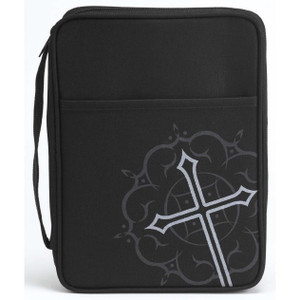 Silk Screened Cross - Bible Cover - Large