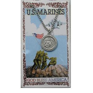 Pewter Saint Michael Marines Medal and Prayer Card Set
