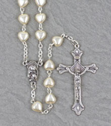 6mm Cream Heart Rosary