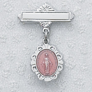 Sterling Silver Pink Oval Miraculous Medal Baby Pin