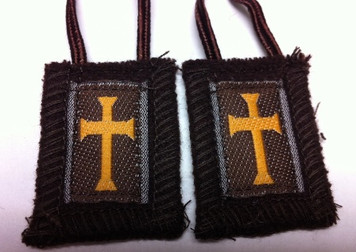 "Brown Crusader Scapular with Long 36"" Brown Cord"