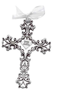 Christening Pewter Filigree Cross