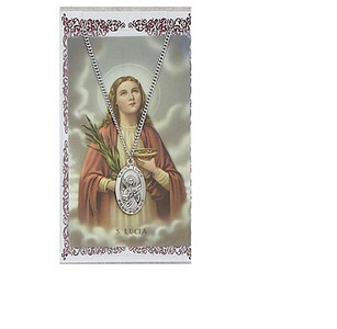 Saint Lucy Prayer Card and Medal Set