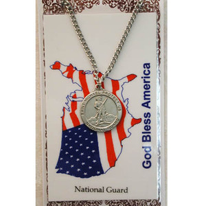 Pewter Saint Michael National Guard Medal and Prayer Card Set