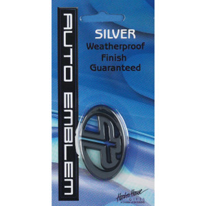 Small Cross Oval Silver Auto Emblem
