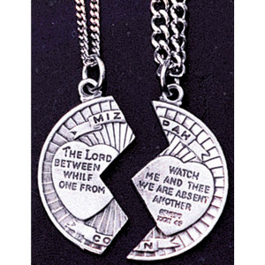Pewter Mizpah Coin Necklace Set