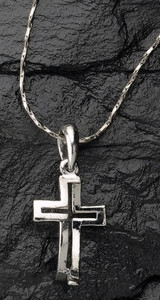 Dimensions of Christ Cross/Fish Necklace with Chain