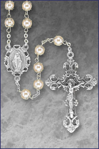 7mm Round White Pearl Double Capped Rosary