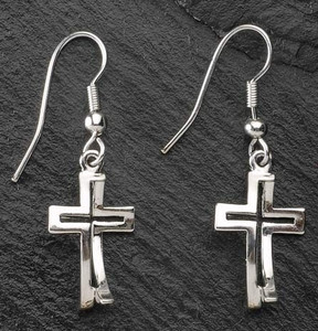 Dimensions of Christ Cross/Fish Earrings