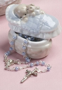 Blue Porcelain Box with Rosary