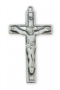 "Antique Pewter Crucifix 18"" Chain"