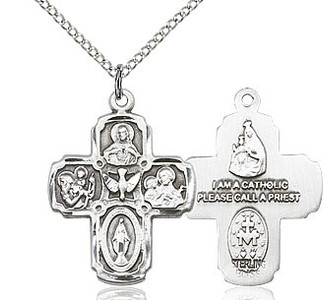 """Sterling SIlver 5-Way Medal 20"""" chain"""