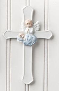 Baby Boy Cross with Angel - Porcelain - Valencia Collection