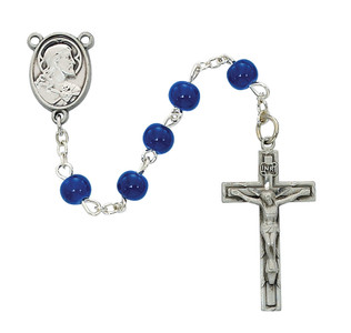 6mm Deluxe Blue Sacred Heart Rosary
