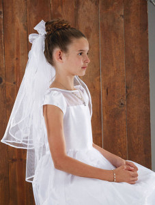 First Communion Veil  with Bow and Flowers on Comb