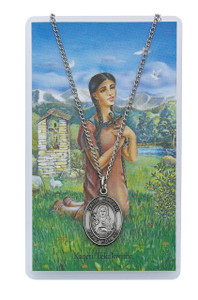 Saint Kateri Tekakwitha Prayer Card and Medal Set