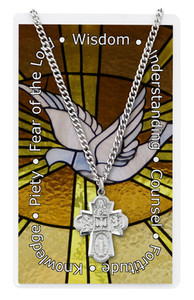 4-Way Confirmation Prayer Card and Medal Set