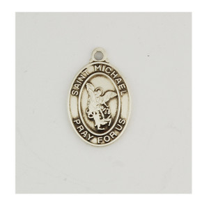 Sterling Silver Small Oval Saint Michael Necklace