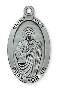 Antique Silver Saint Jude Medal 24""