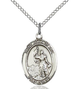 Pewter Oval Saint Joan of Arc Medal