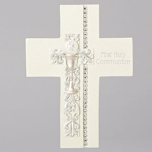 "7.5"" Communion Wall Cross Silver Scroll/Chalice Design"