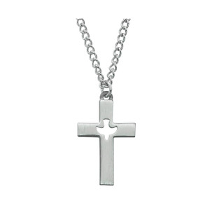 Holy Spirit Cut-Out-Cross Pewter Necklace