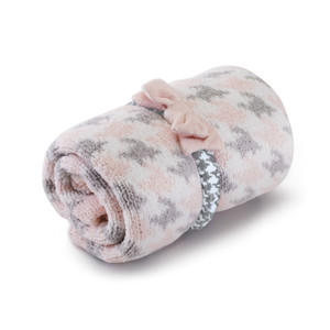 Chenille Blanket and Headband Set Pink