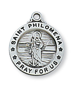 Sterling Silver Round Saint Philomena Medal