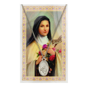 Saint Therese of Lisieux Prayer Card and Medal Set